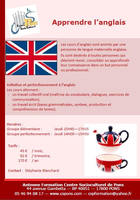 Formations linguistiques centre socioculturel de pons for Maitrise d ouvrage anglais